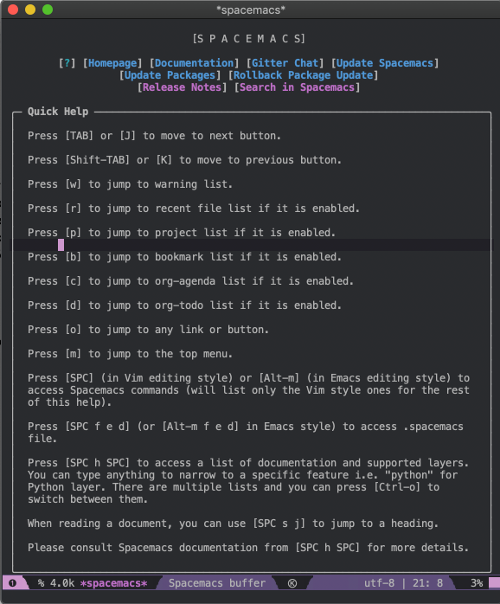 Spacemacs help screen