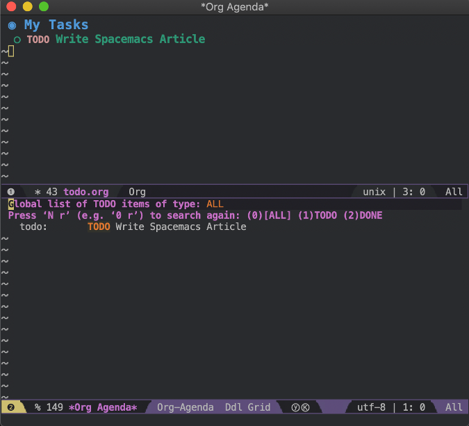Spacemacs todo.org and the Org todo agenda