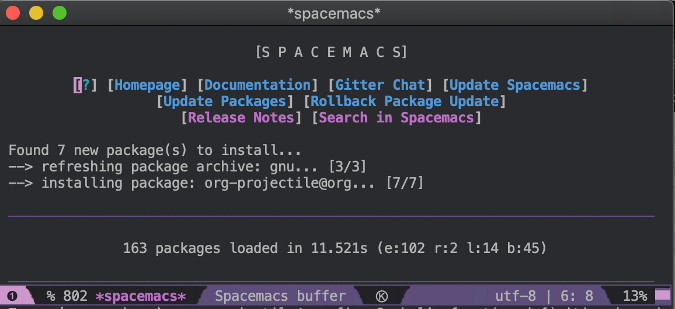 Installing Org mode in Spacemacs