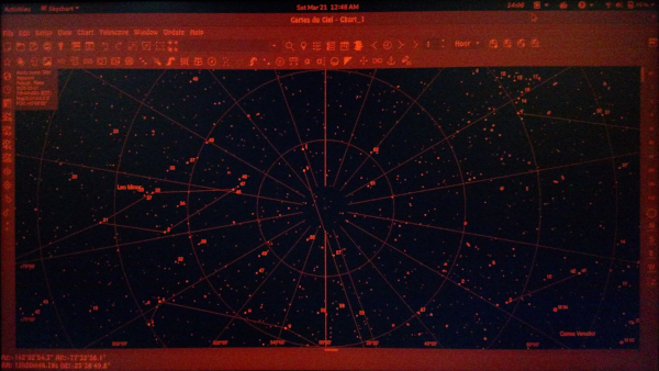 A star chart displayed in red screen mode