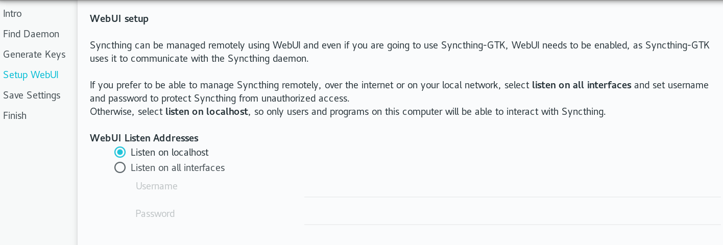 Syncthing in Setup WebUI dialog box