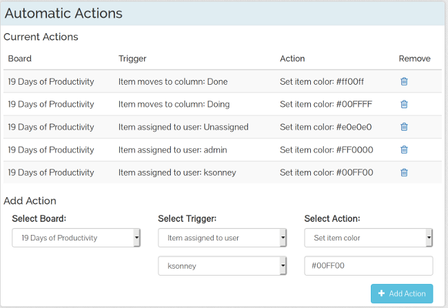 TaskBoard Automatic Actions
