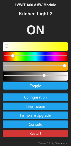 Tasmota user interface