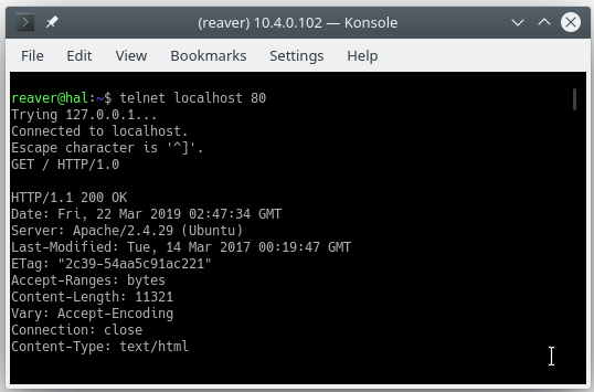 Getting a response from a webserver with Telnet