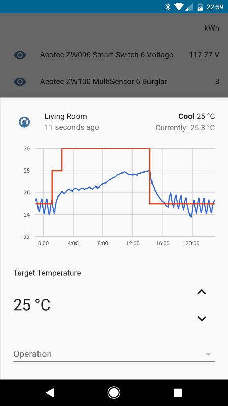 The thermostat interface on a smartphone