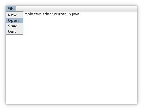 White text editor box with single drop down menu with options File, New, Open, Save, and Quit