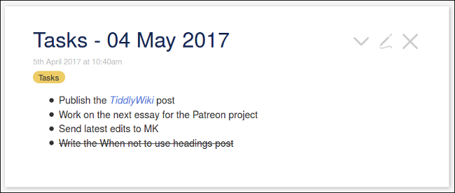 Marking a completed task in TiddlyWiki