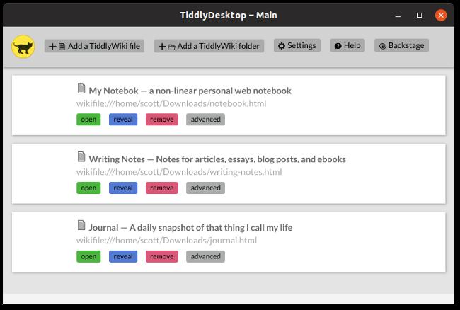 TiddlyWiki desktop