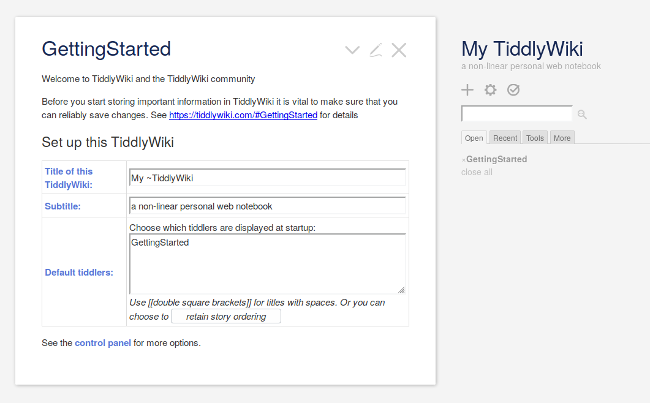TiddlyWiki's Getting Started screen