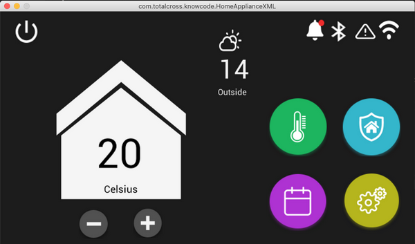 TotalCross simulator running temperature application
