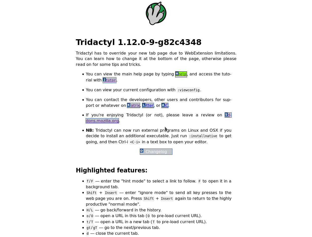 Tridactyl screenshot