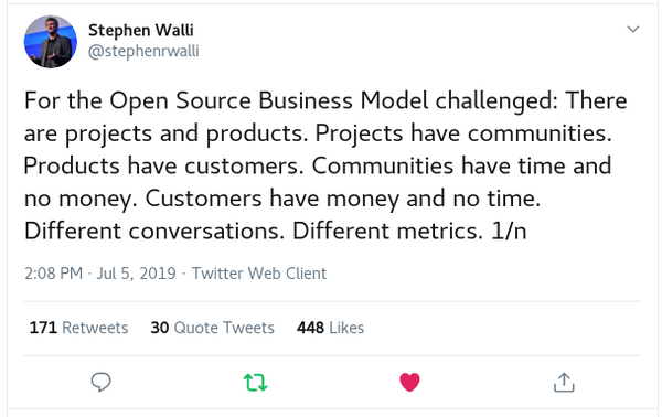 Stephen Walli tweet about open source business models