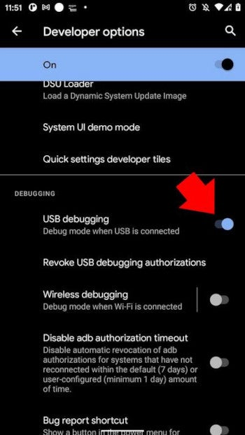 Enable USB Debugging option