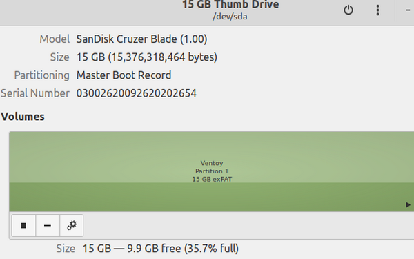 USB mount point in GNOME Disks