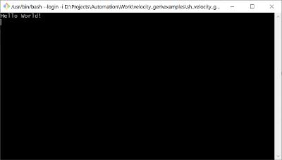 Velocity shell output