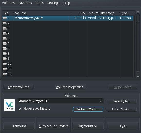 Mounting a VeraCrypt volume
