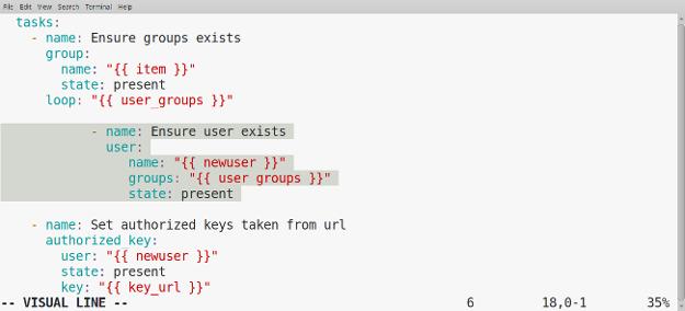 Highlighting task to decrease indentation in Line mode
