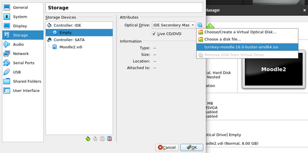 Attaching Moodle.iso to VM