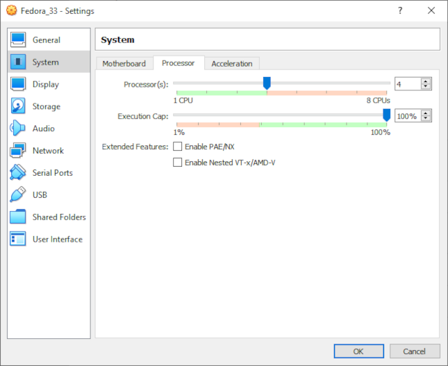 Assigning cores to guest system