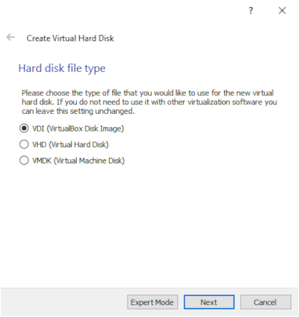 Selecting hard disk file type