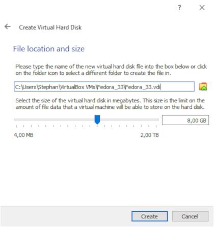 Setting hard disk size