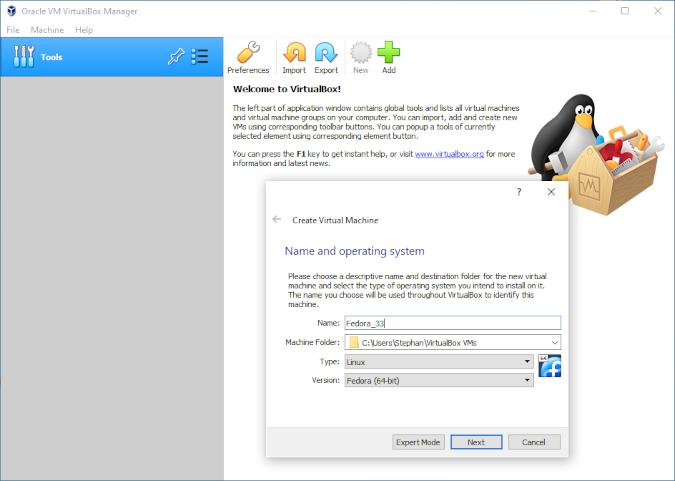 VirtualBox New VM