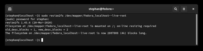 resize2fs command output