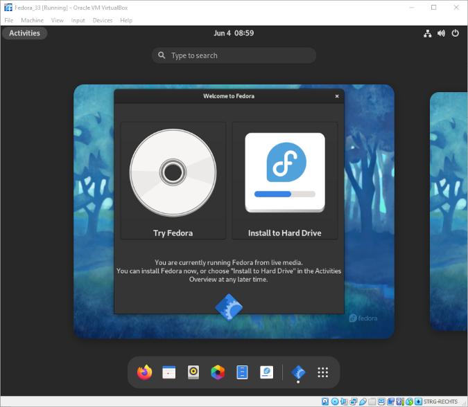 VirtualBox Fedora installer