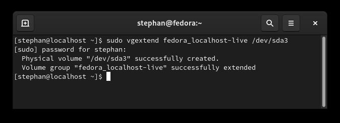 vgextend command output