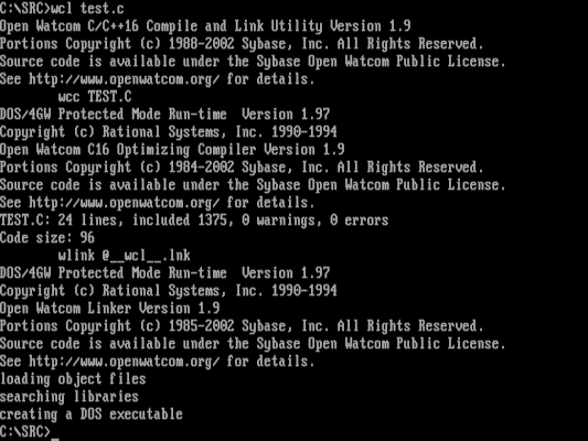 compiling with OpenWatcom
