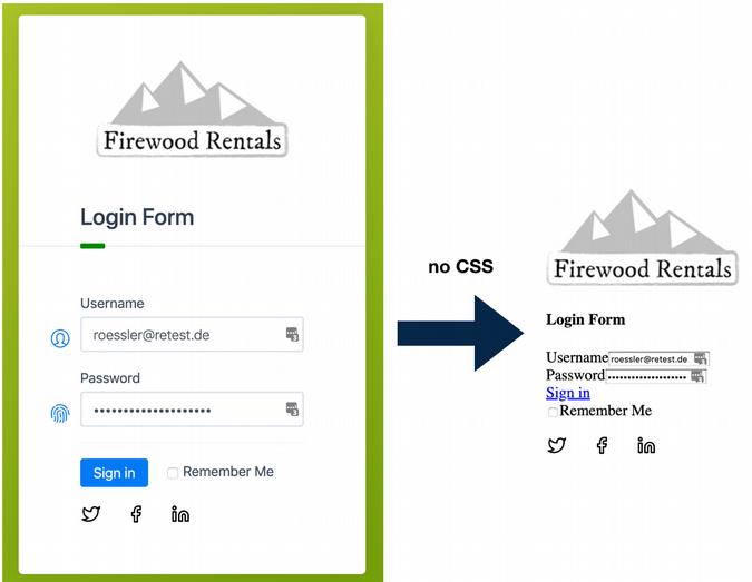 Website login form displayed as raw HTML