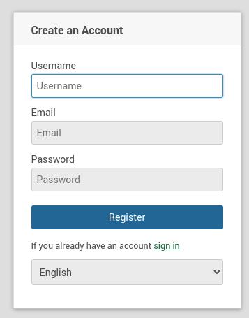 Wekan create registration page