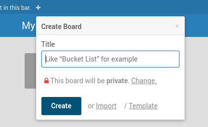 Wekan create/import board page