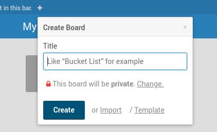 Wekan create/import board page