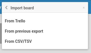 Wekan import board screen