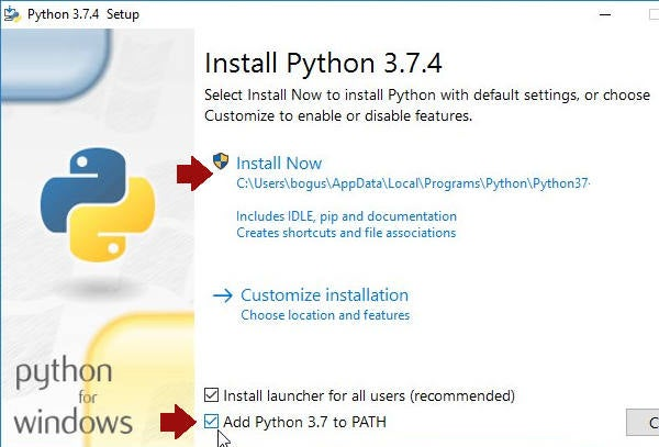 "Select ""Add Python 3 to PATH"""