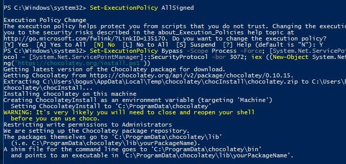 Creating an exception to the execution policy