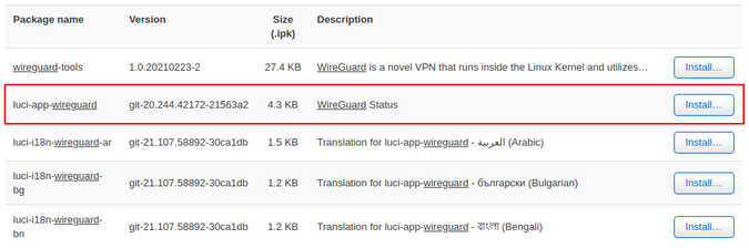 luci-app-wireguard package