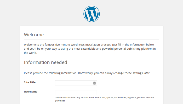 WordPress site setup screen