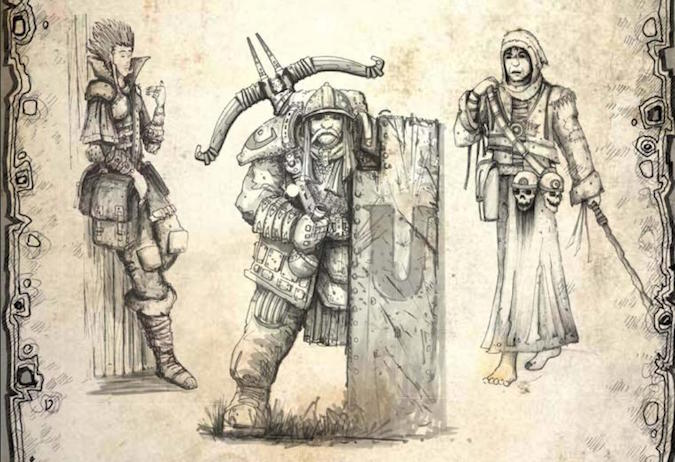 WRM character illustrations of a warrior, mage, and rogue