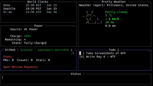 WTF dashboard with GitHub, Todos, Power, and the weather