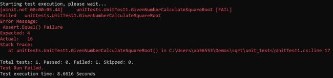 xUnit output after the unit test run fails