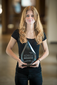 Jessica McKellar with 2016 Red Hat Women in Open Source Award